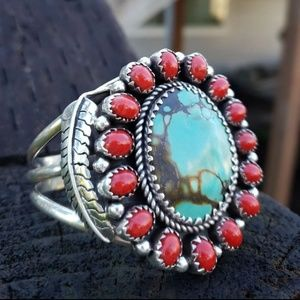 Jewelry - Huge Turquoise Coral Sterling Silv Bracelet